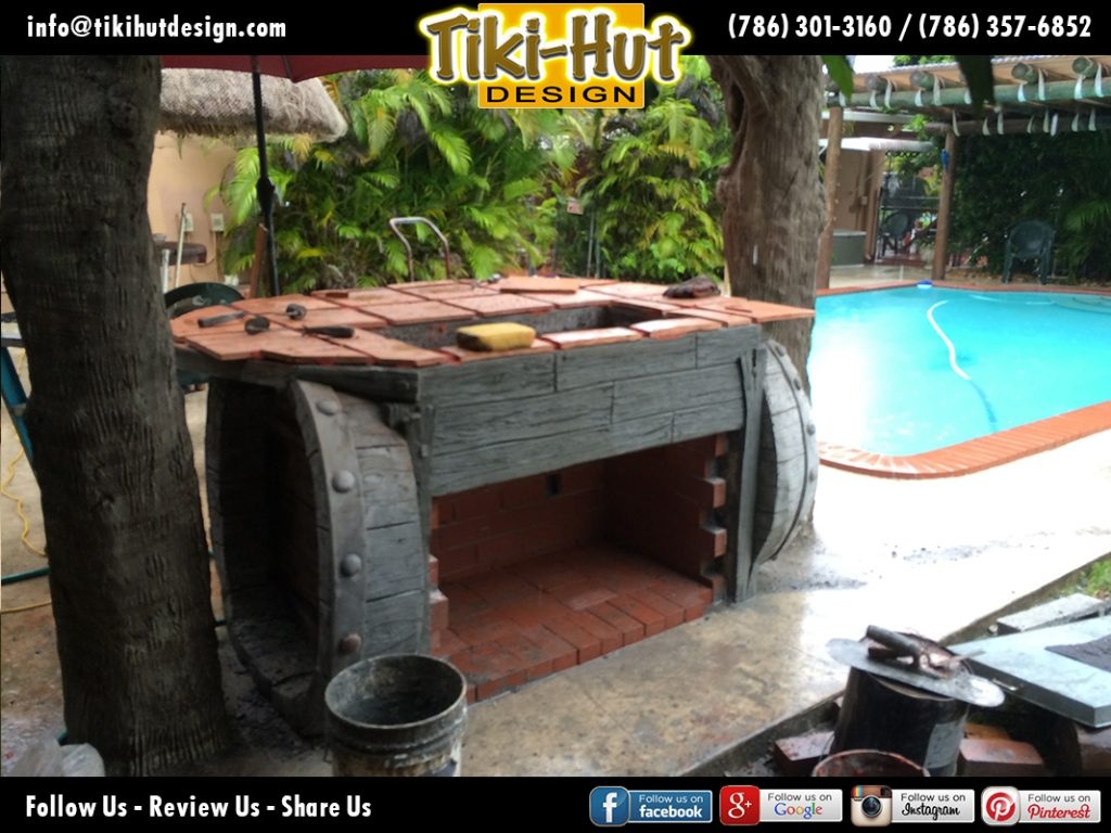 Custom-Cement-Barrel-Tiki-Bar-after-back-view-Tiki-Huts-Miami