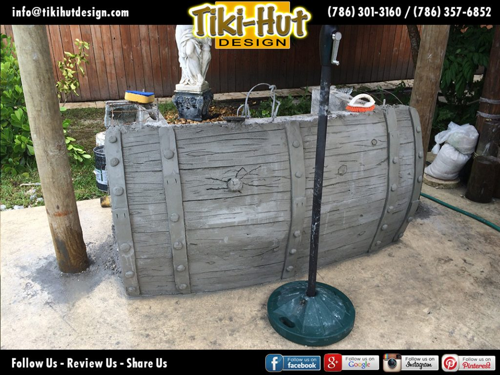 Custom-Cement-Barrel-Tiki-Bar-before-Tiki-Huts-Miami
