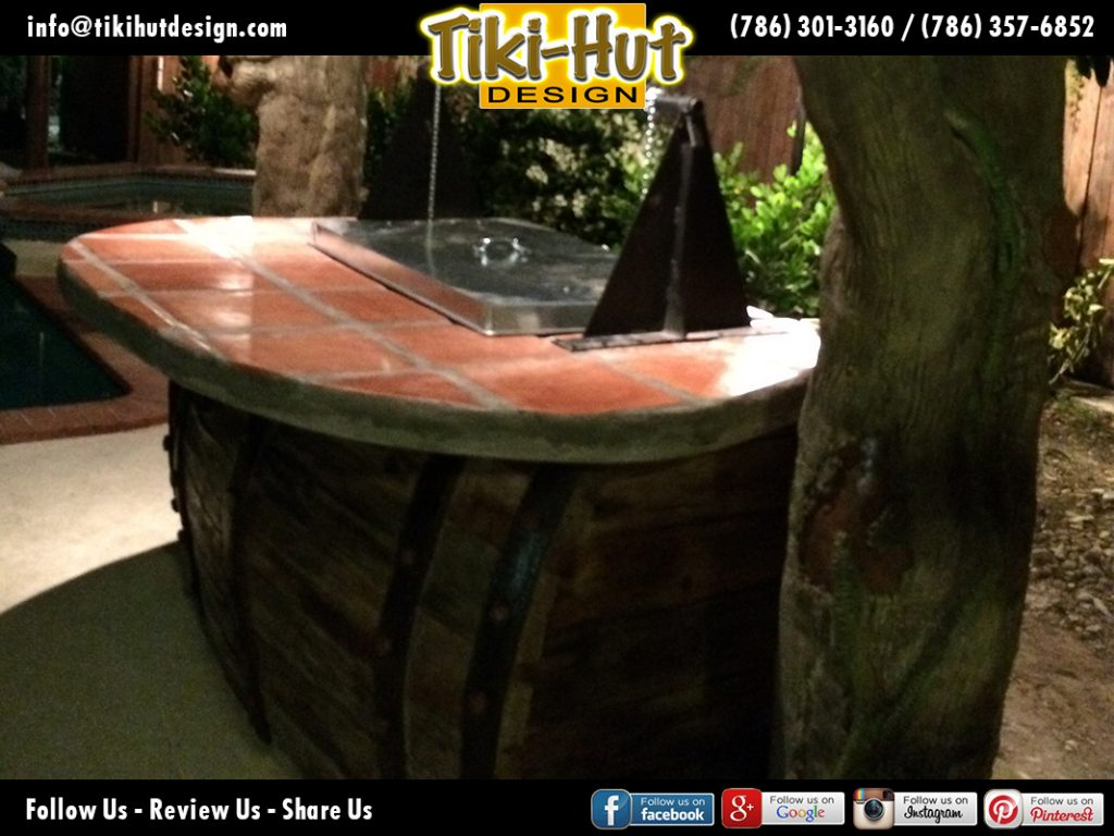 Custom-Cement-Barrel-Tiki-Bar-detail-night-view-Tiki-Huts-Miami