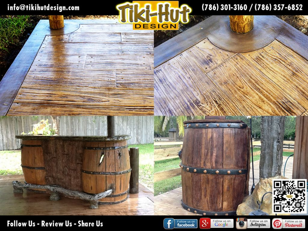 Custom-Cement-Wooden-Floor-and-Wine-Barrel-Tiki-Huts-Miami