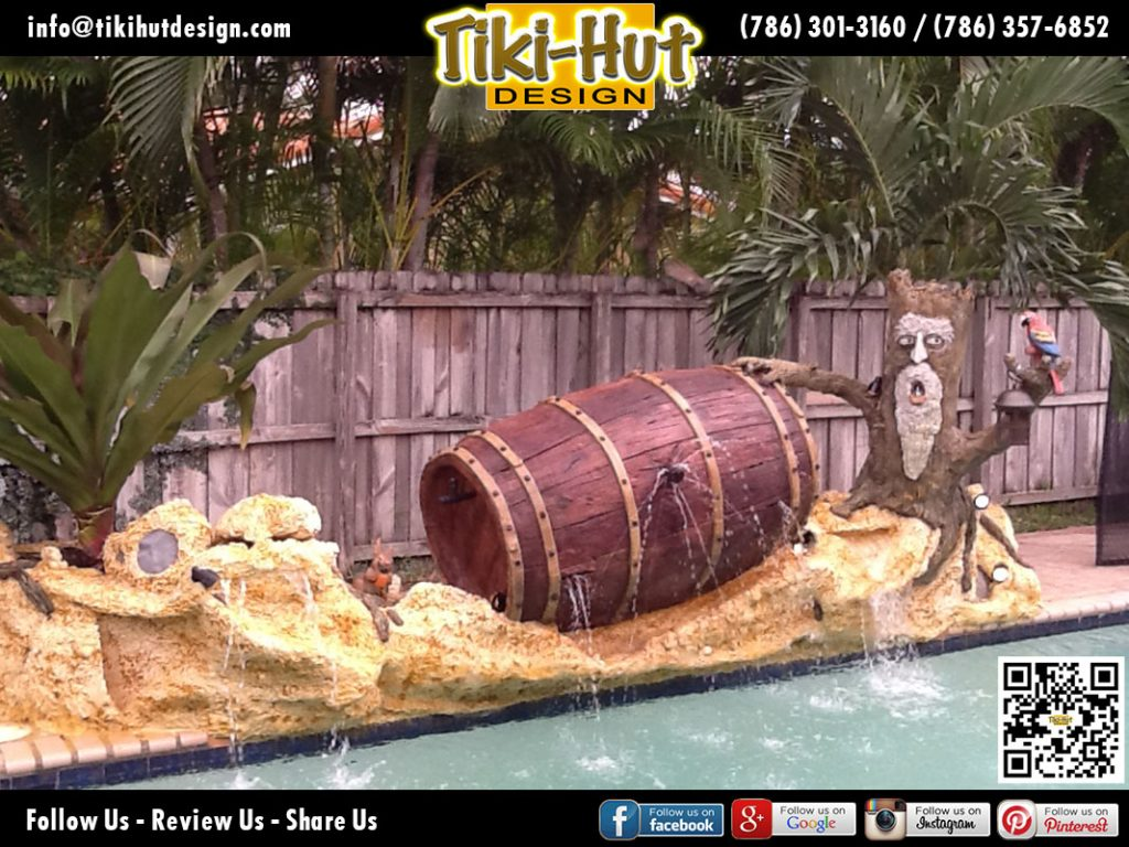 Custom-Decorative-Wine-Barrel-with-Water-feature-by-Tiki-Hut-Design-of-Miam