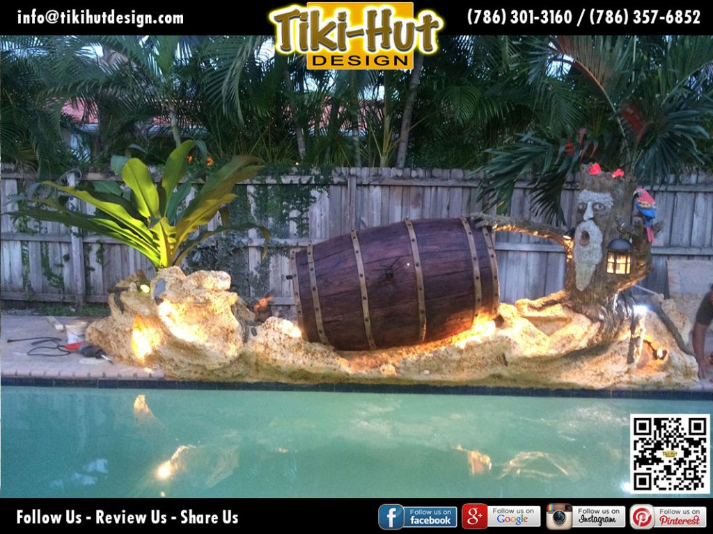 Custom-Decorative-Wine-Barrel-with-Water-feature-night-view-by-Tiki-Hut-Design-of-Miam