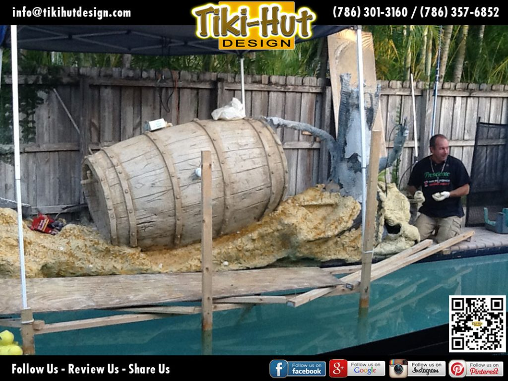 Custom-Decorative-Wine-Barrel-with-Water-feature-under-construction-by-Tiki-Hut-Design-of-Miam