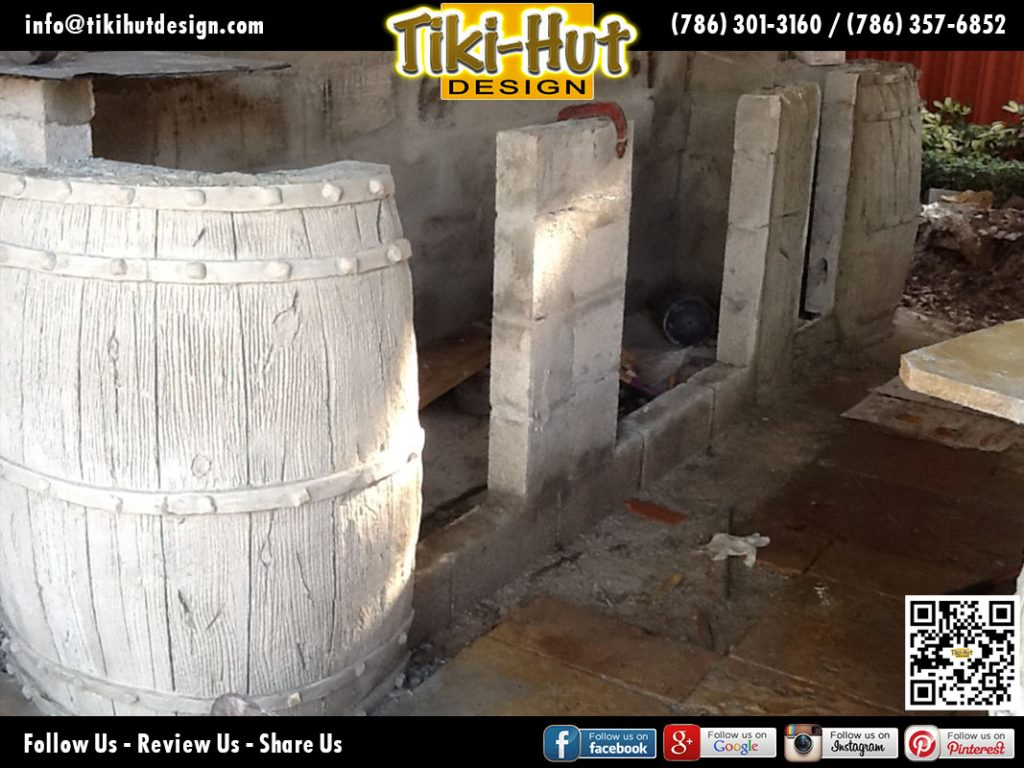 Custom-Outdoor-BBQ-and-Wet-Bar-under-construction-by-Tiki-Hut-Design-of-Miami