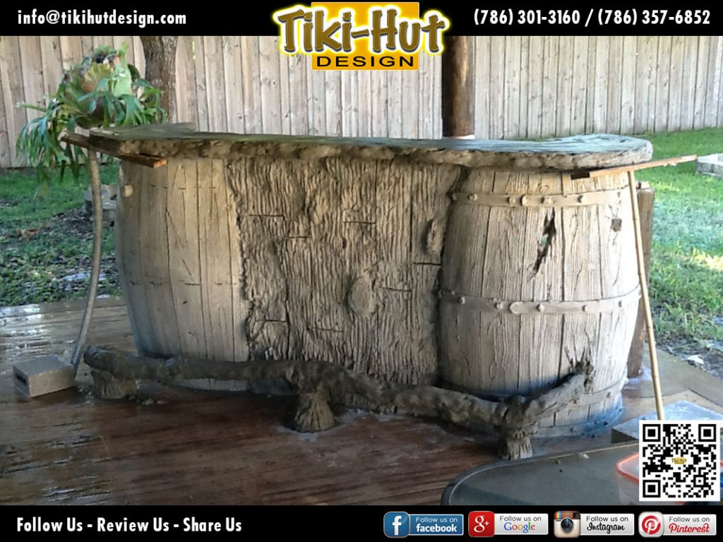 Custom-tiki-bar-sculpted-cement-wine-barrel-and-counter-top-under-construction-by-Tiki-Hut-Design-of-Miami