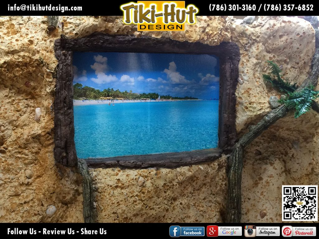 custom-coral-wall-designed-with-pictured-framed-by-Tiki-Hut-Design-of-Miami