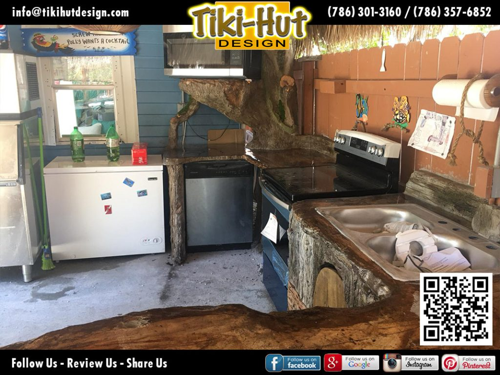 tiki-hut-design-kitchen-counter-corner-barrel-microwave